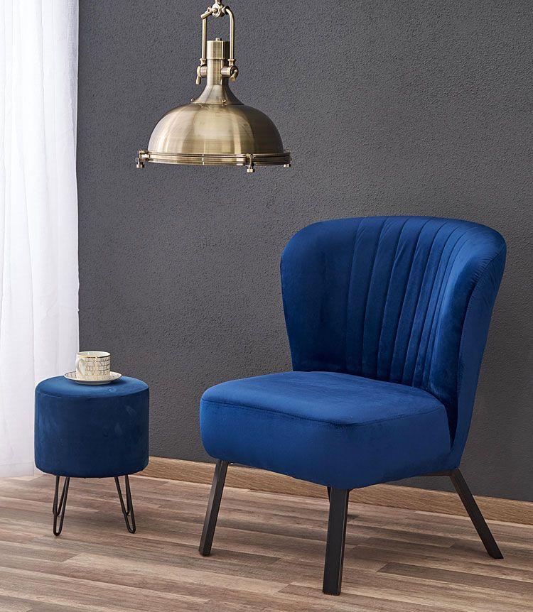 Granatowy tapicerowany fotel do salonu, sypialni Lorid