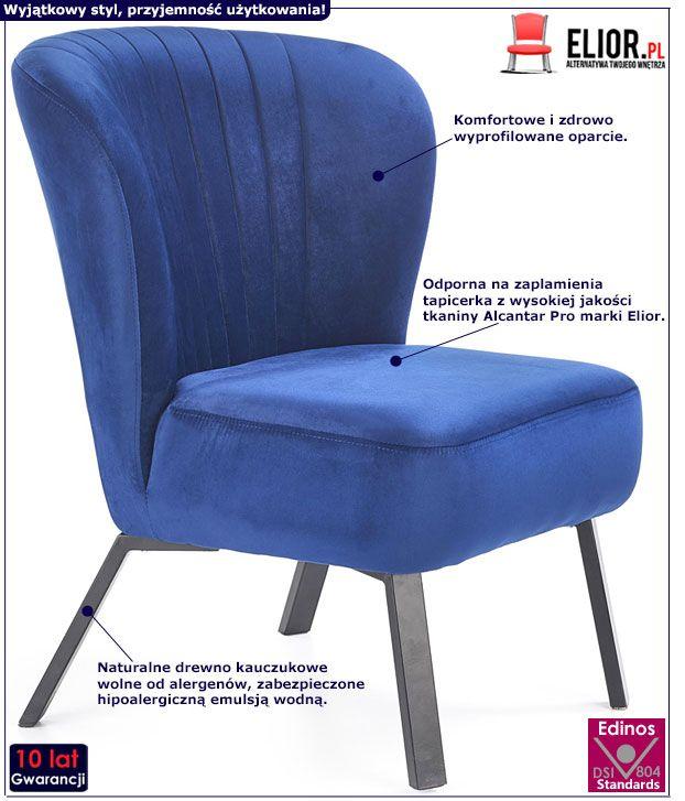 Granatowy fotel wypoczynkowy Lorid