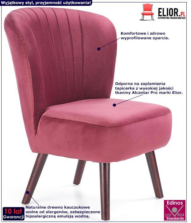 Bordowy fotel tapicerowany do salonu, pracowni Lorid