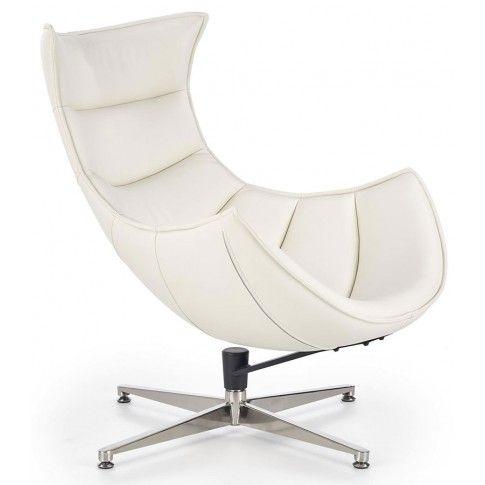 Zdjęcie produktu Obrotowy fotel wypoczynkowy ze skóry naturalnej Lavos - biały.