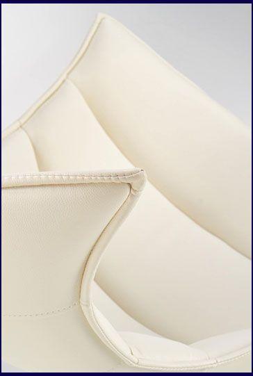 Biały fotel tapicerowany skóra naturalna Lavos