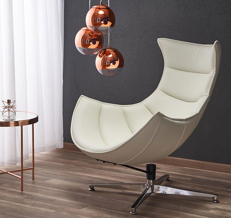 Biały fotel relaksacyjny do oglądania tv Lavos
