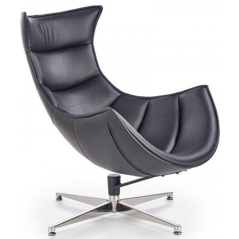 Zdjęcie produktu Skórzany fotel jajo do salonu Lavos - czarny.