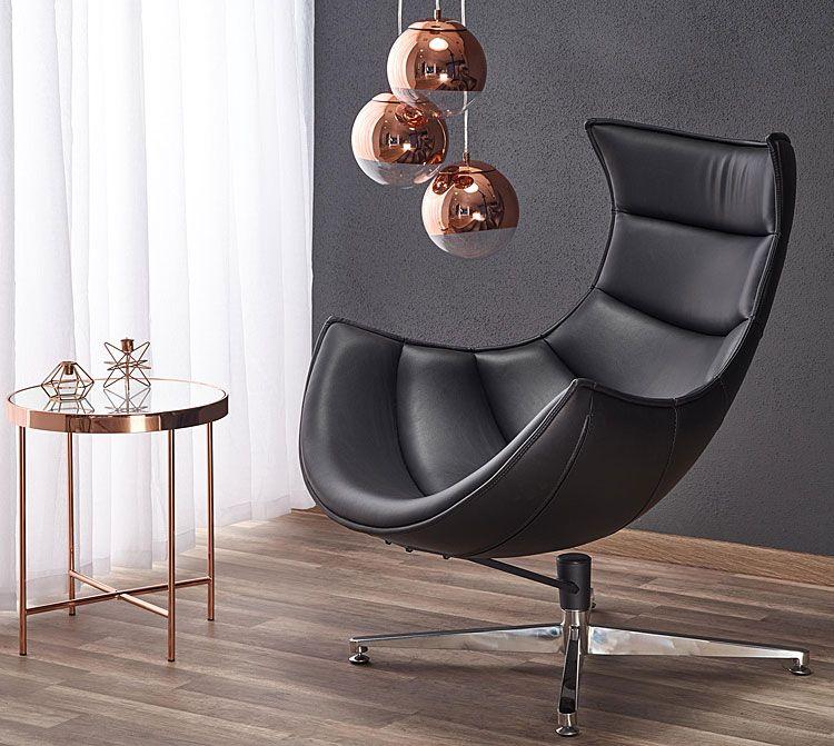 Czarny fotel wypoczynkowy do salonu, biura Lavos