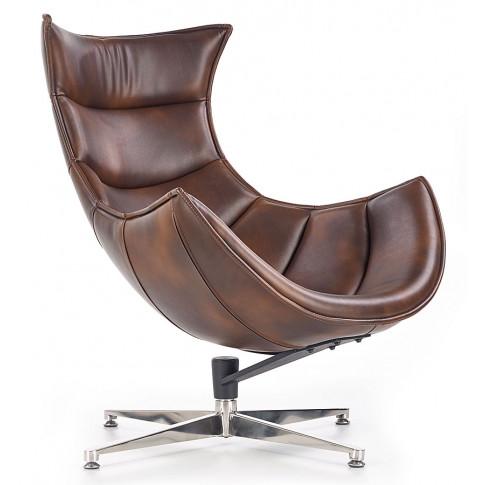 Zdjęcie produktu Skórzany obrotowy fotel wypoczynkowy Lavos - brązowy.