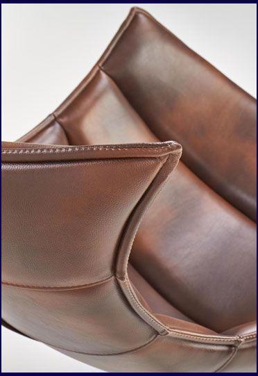 Brązowy skórzany fotel wypoczynkowy Lavos