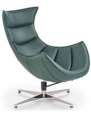 Skórzany fotel wypoczynkowy Lavos - zielony w sklepie Edinos.pl