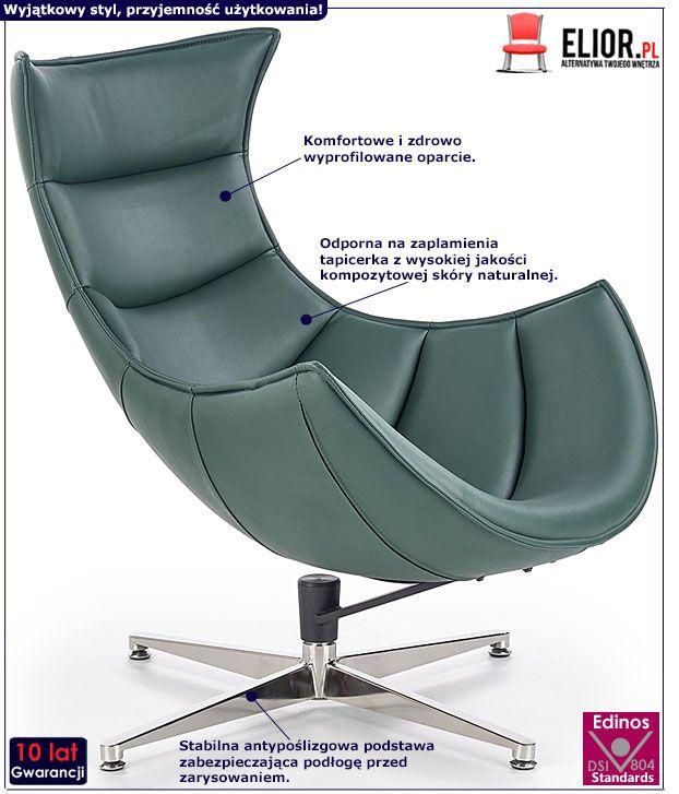 Zielony fotel wypoczynkowy z prawdziwej skóry Lavos
