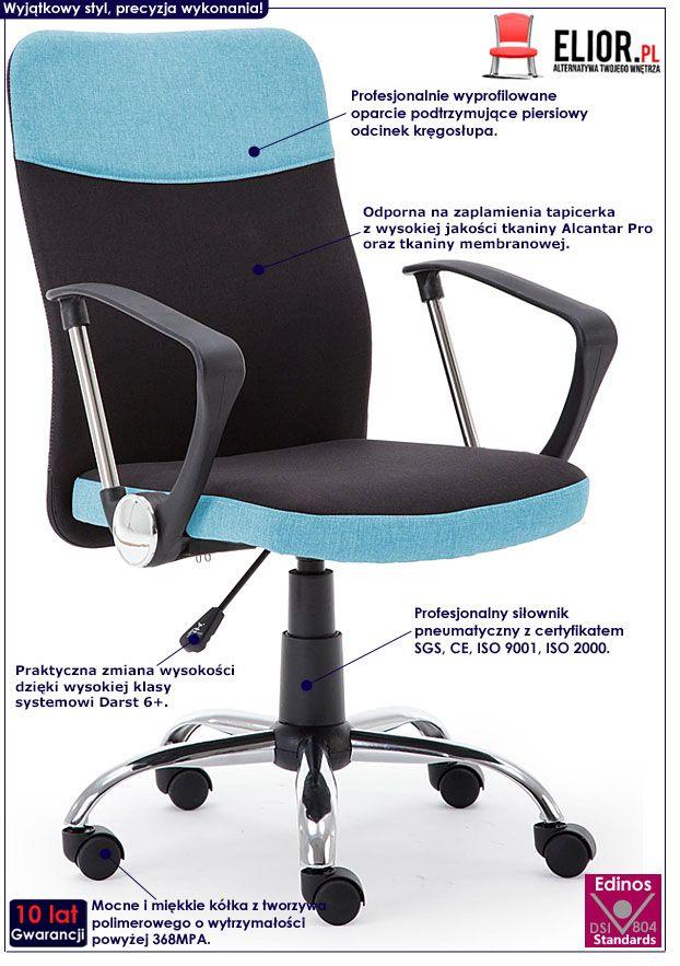 Nowoczesny fotel obrotowy czarno-niebieski Travis