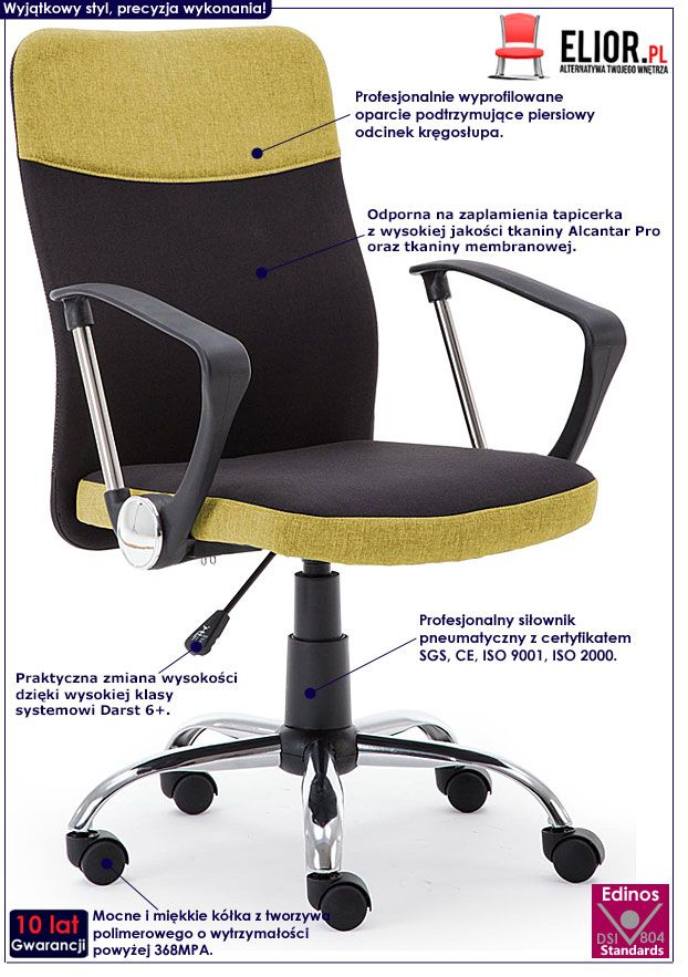 Czarno-żółte krzesło obrotowe do biura Travis