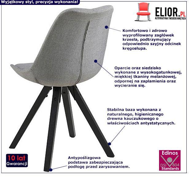Stylowe krzesło Oscar 2X - szare
