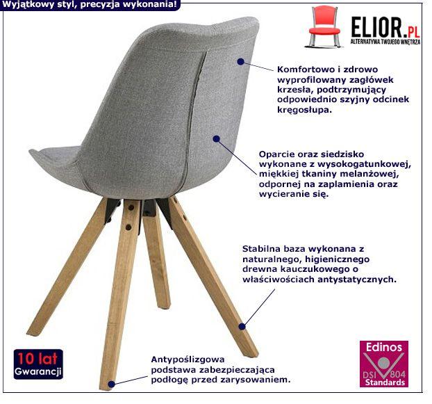 Modne krzesło Oscar 2X - jasnoszare