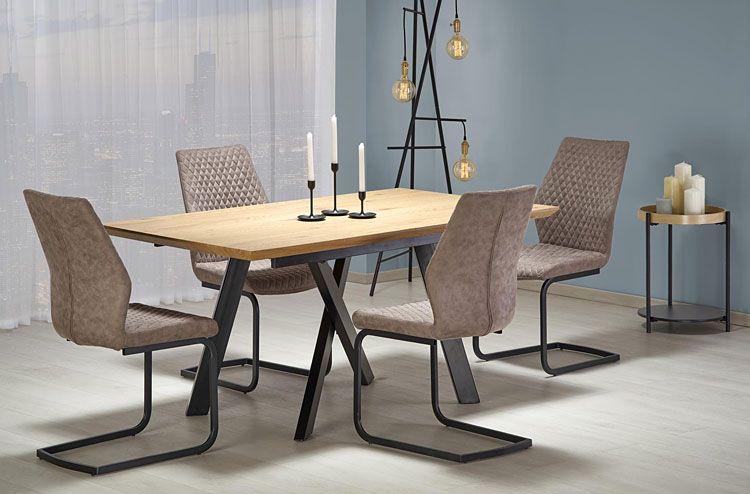 Beżowe krzesło kuchenne w industrialnym stylu Erfix