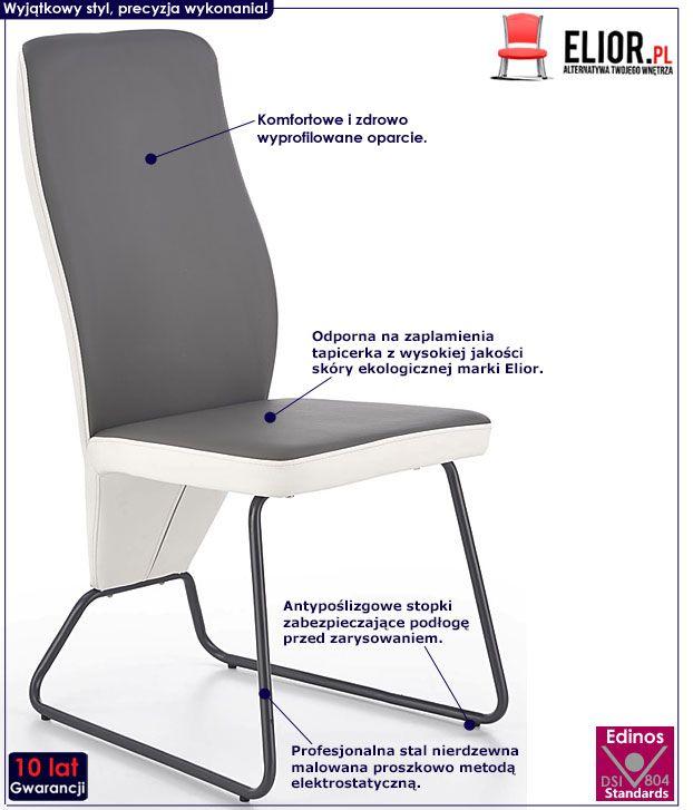 Szare krzesło w minimalistycznym stylu Asper