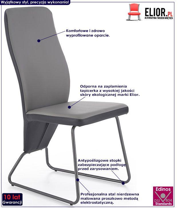 Szare krzesło kuchenne w nowoczesnym stylu Asper