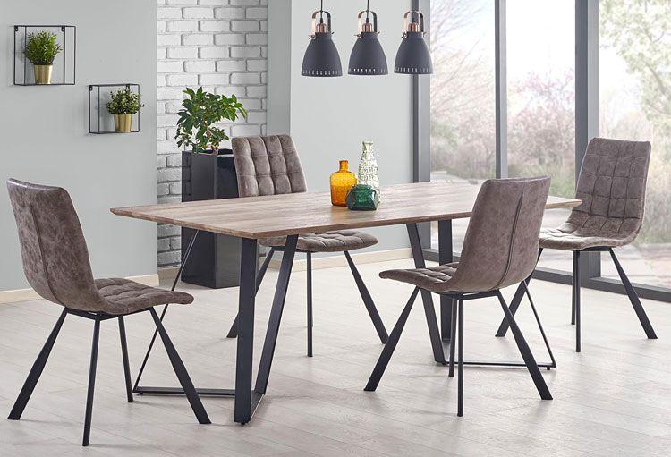 Brązowe pikowane krzesło kuchenne do stołu, loftu Danton
