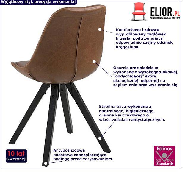Stylowe krzesło Oscar 3X - brązowe