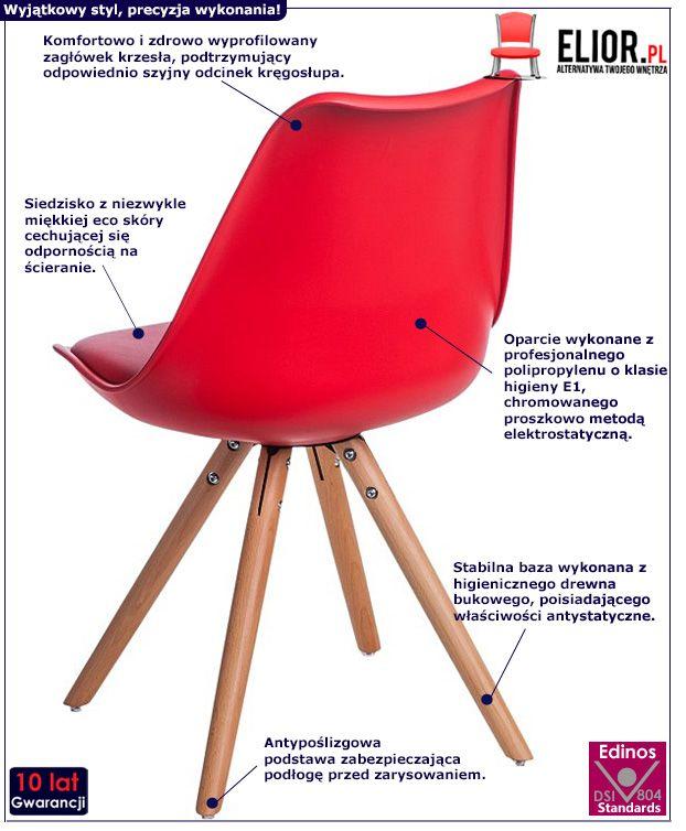 Stylowe krzesło Netos 4X - czerwone