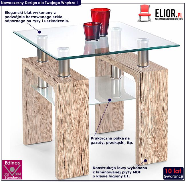 Szklany stolik kawowy do salonu dąb san remo Karis 2X
