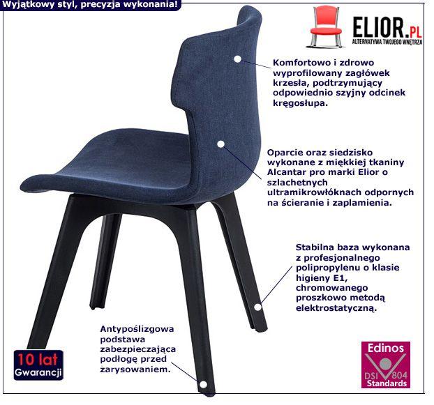 Piękne krzesło Duno - niebieskie