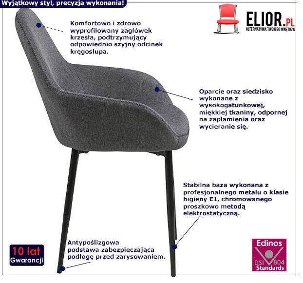 Stylowe krzesło Mauris - szare