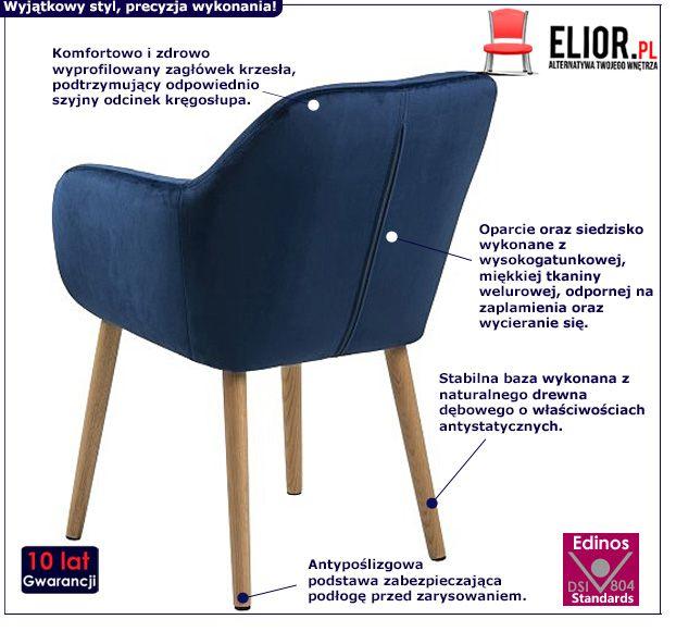 Elegancki fotel Erino - niebieski