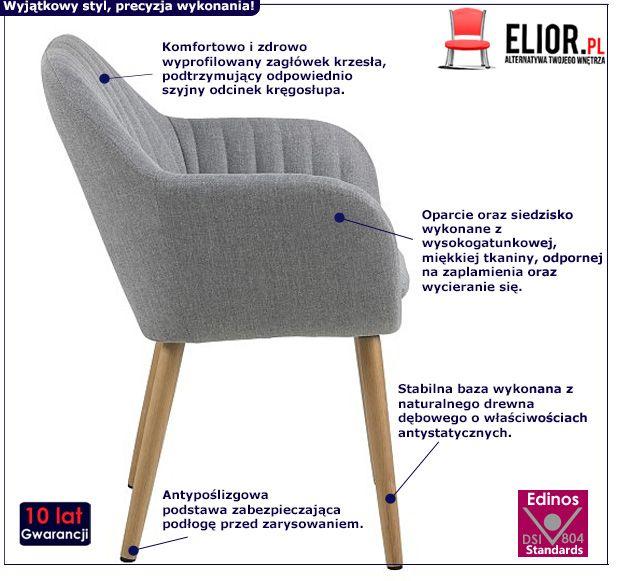 Skandynawski fotel Erino - szary