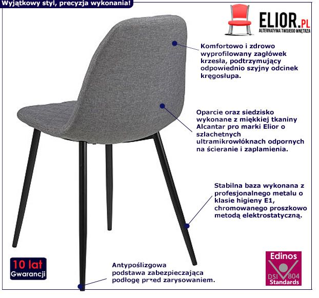 Modne krzesło Velio - szare