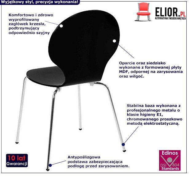 Stylowe krzesło Heglio - czarne
