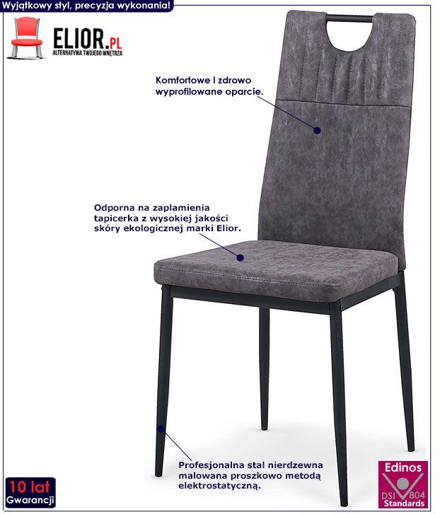 Szare krzesło kuchenne w industrialnym stylu Levin