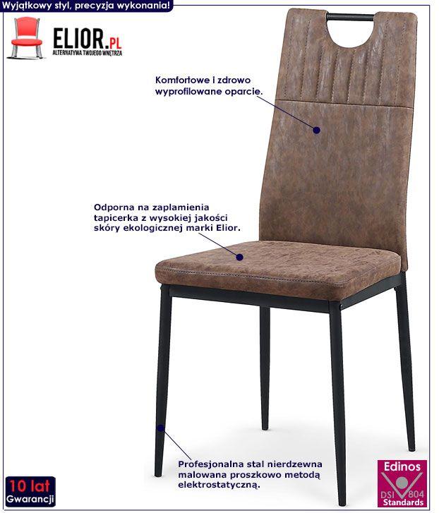 Brązowe krzesło loftowe do stołu Levin
