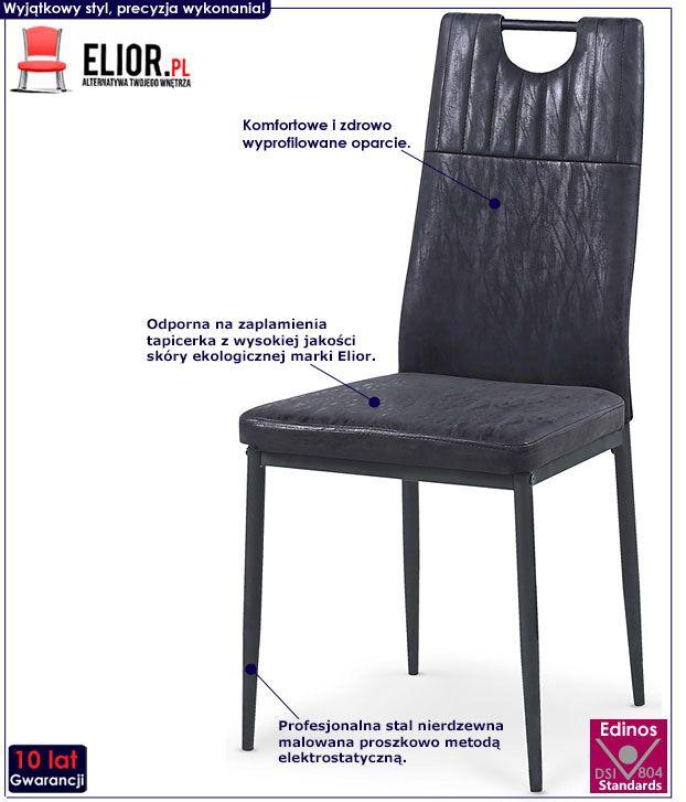 Czarne krzesło w nowoczesnym stylu Levin