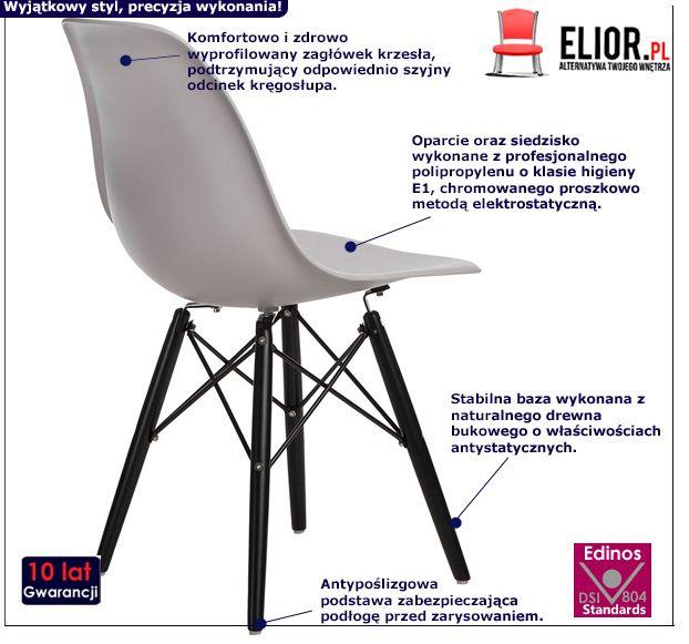 Nowoczesne krzesło Epiks - szare