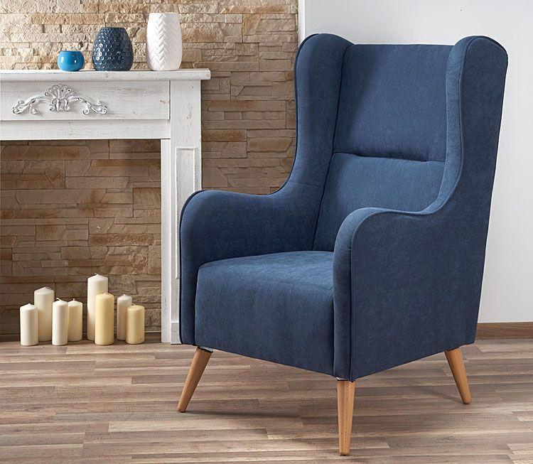 Granatowy fotel relaksacyjny do salonu, sypialni Narin