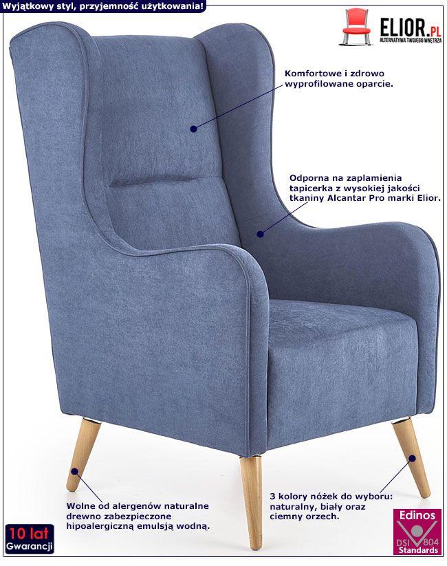 Granatowy fotel tapicerowany do salonu, biura Narin