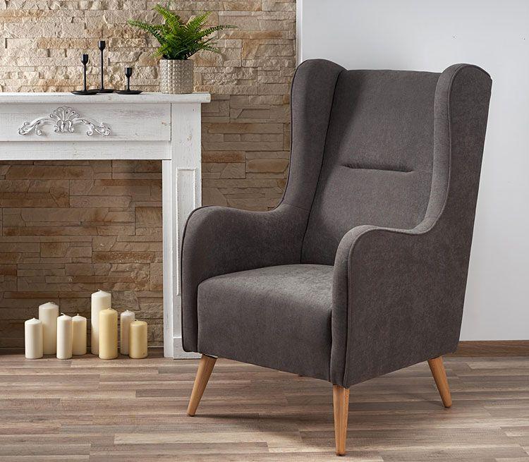 Popielaty fotel wypoczynkowy do salonu Narin
