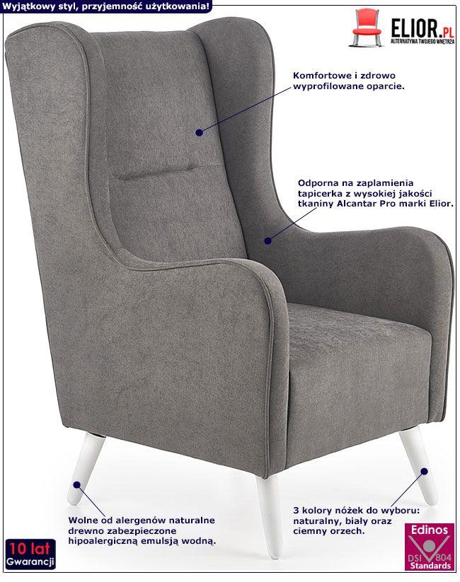 Ciemnoszary fotel relaksacyjny do czytania Narin