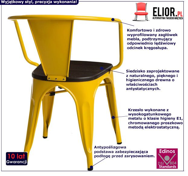 Nowoczesne krzesło Kimmi - żółte