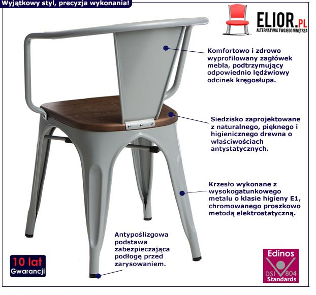 Designerskie krzesło Kimmi - szare
