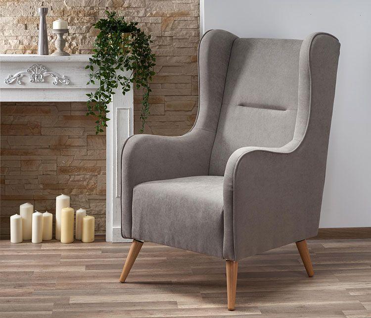 Popielaty fotel relaksacyjny do biura, pracowni Narin