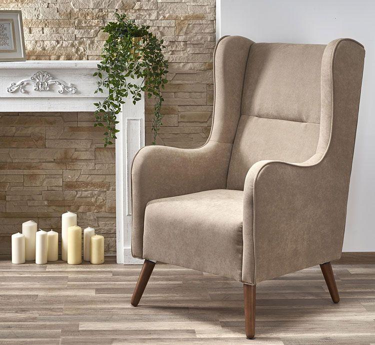 Beżowy fotel do salonu, sypialni, biura Narin