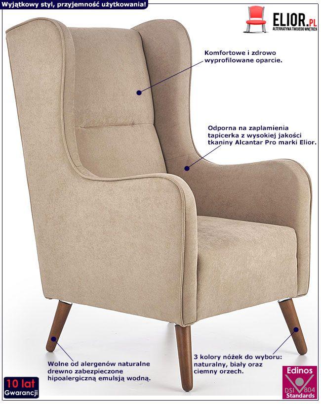 Beżowy fotel wypoczynkowy do czytania Narin