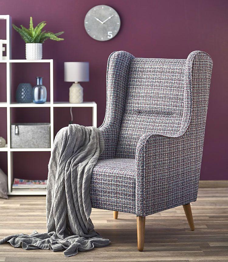 Melanżowy fotel do czytania, oglądania tv Narin