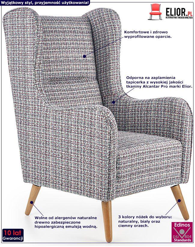 Kolorowy fotel wypoczynkowy melanż Narin