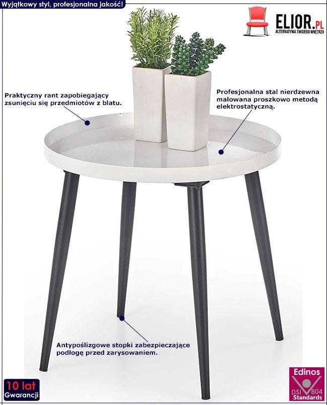Okrągły biało-czarny stolik kawowy do salonu Randi