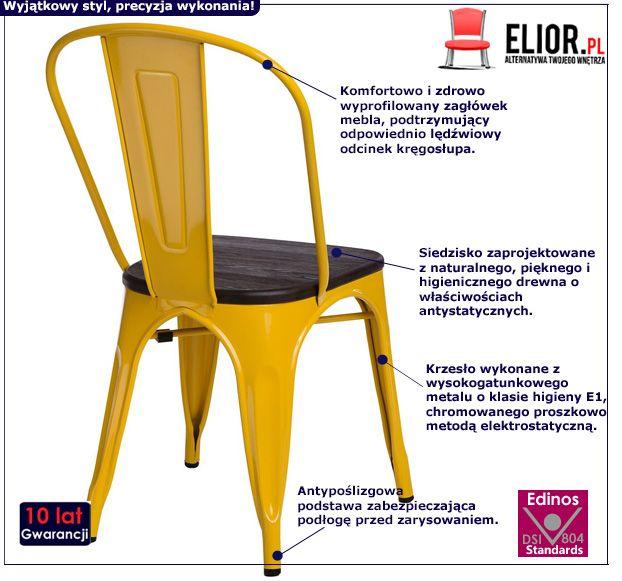 Designerskie krzesło Kimmi 2X - żółte