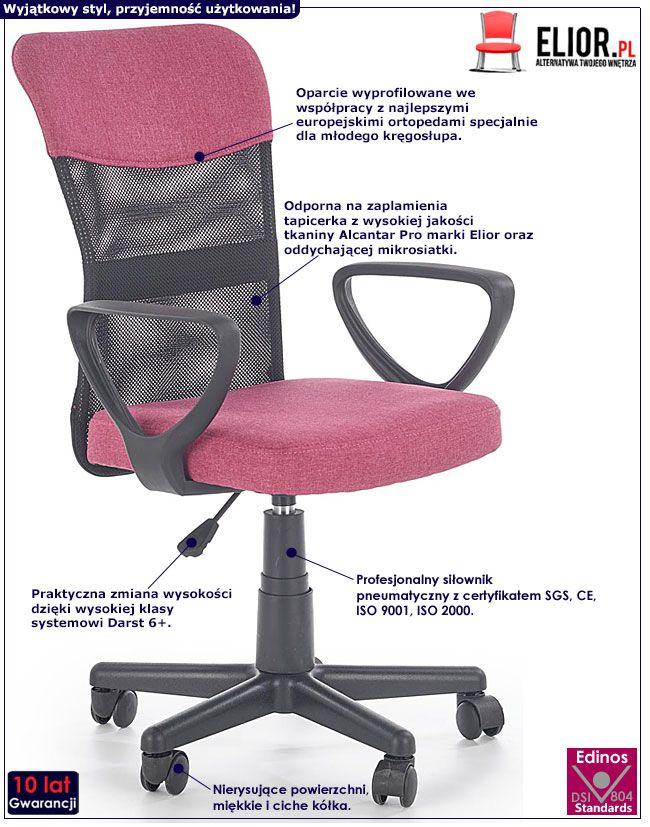 Różowy wentylowany fotel obrotowy dla dziewczynki Chester