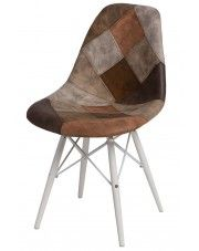 Fotel patchwork Loko - brązowy + biały