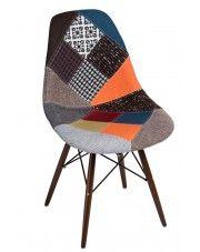 Fotel patchwork Loko - wielobarwny + ciemne drewno w sklepie Edinos.pl