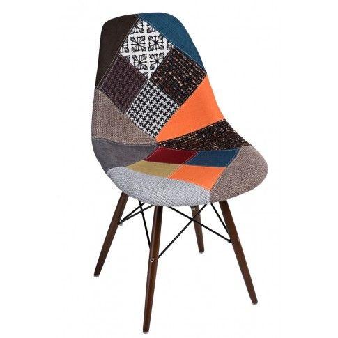 Zdjęcie produktu Fotel patchwork Loko - wielobarwny + ciemne drewno.